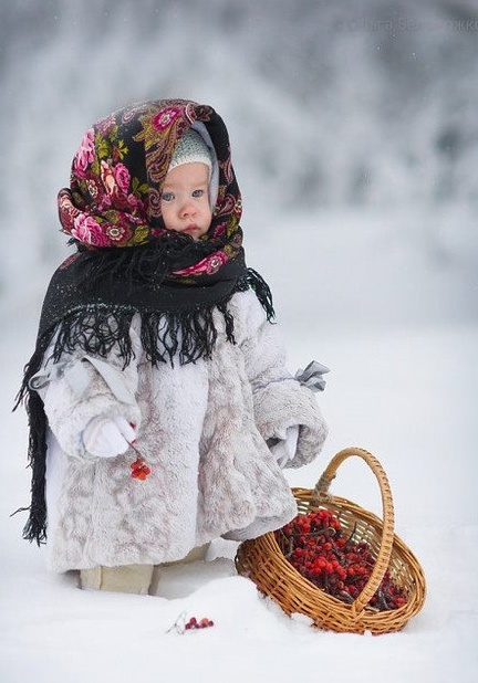 winter, child in babushka, snow