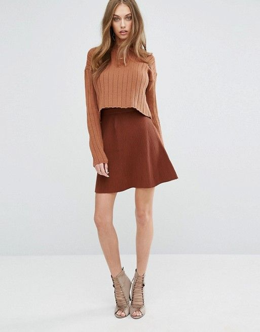 Missguided | Missguided Knitted Skater Skirt in rust at Asos