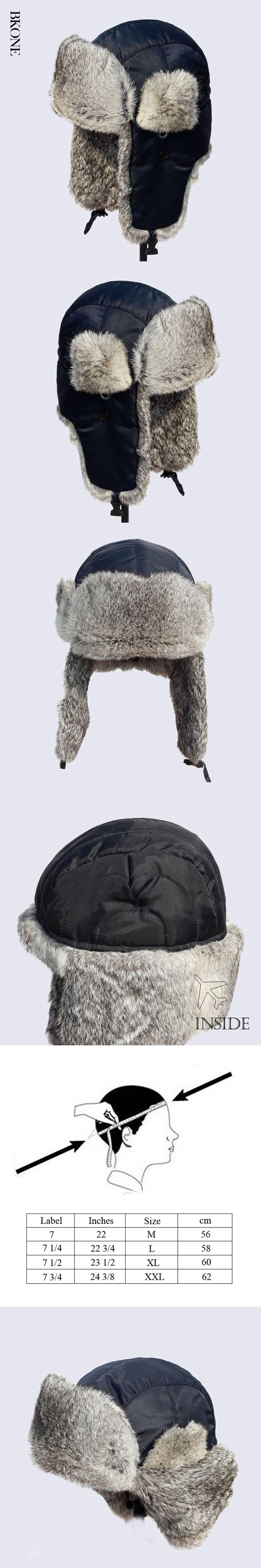 Russian Bomber Hats Real Rabbit Fur Winter Warm Hat Aviator Ushanka Trapper Men and Women's Thick Earflap Snow Cap