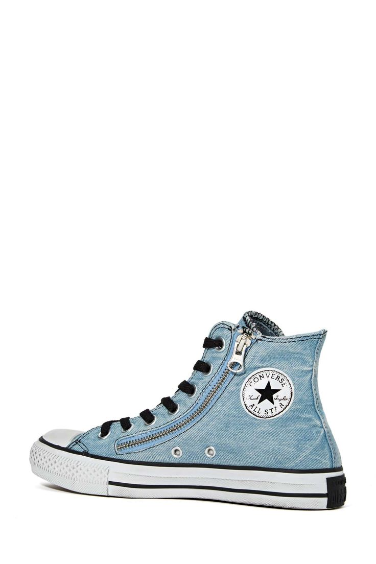 Converse All Star High-Top Sneaker - Denim Double Zip | Shop What's New at Nasty Gal