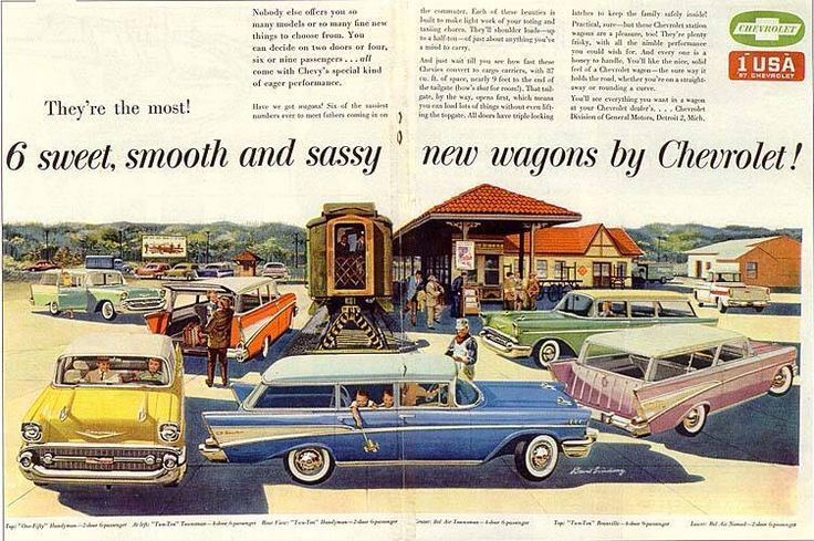 6 Sweet and Sassy new wagons by Chevrolet 1957