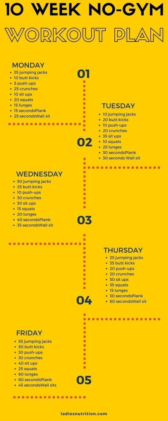 10 Week No-Gym Home Workout Plan That Is Guaranteed To Burn Fat diet workout plan #Gymworkoutplans
