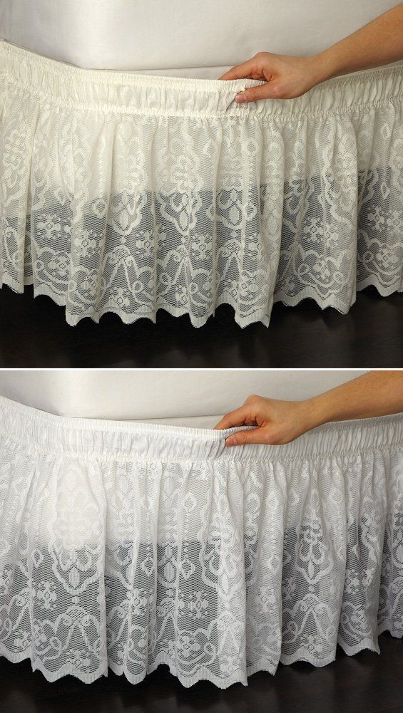 Amazon.com - Lace Trimmed Bed Wrap Ruffle Bed Skirt Ivory Twin/Full By Collections Etc