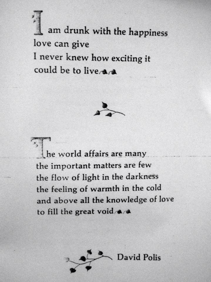 The world affairs are many but the knowledge of love fills the great void.