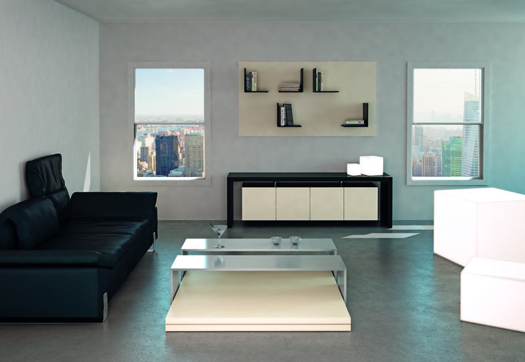 MOViMENT-0 LINE, Model 77. #Coffeetable 77, with 'Sand'-lacquered #wooden base and sliding #inoxsteel #shelves. Console 55 in 'Coal'-colored #wood with 'Sand'-lacquered doors. Ronda Design.