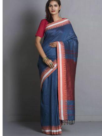 Blue Linen Saree by @redpolkadotcom