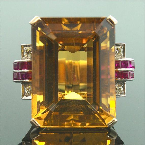 Vintage Citrine Ring Citrine Ruby and Diamond by SITFineJewelry, $4250.00