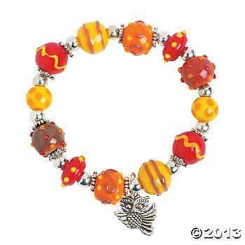 fall lampwork bead bracelet