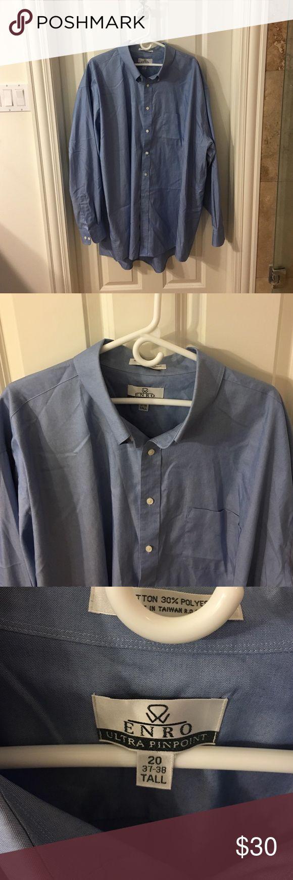 Men's light blue dress shirt, tall Men's button up dress shirt enro Shirts Dress Shirts