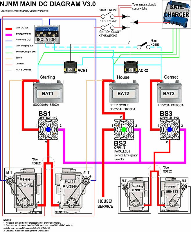 three battery wiring diagram two alternators three batteries acr - google search ... three prong wiring diagram led