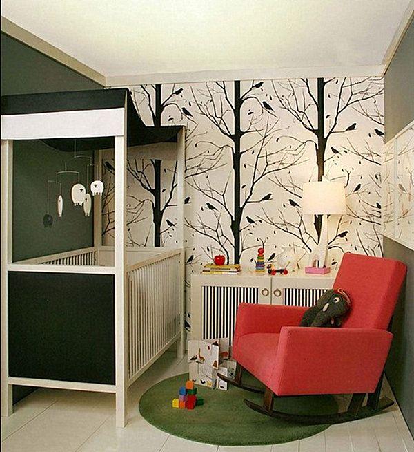Small nursery with contemporary flair
