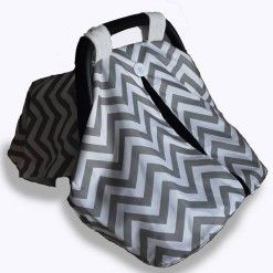 Car seat canopy winter grey chevron #chevron #carseatcanopy #moocachoo #babyproduct #handcrafted #onlineshopping #mommy #grey