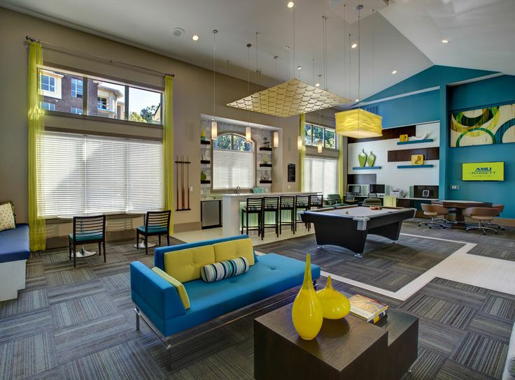 Clubroom with game tables and billiards at amli at barrett for Apartment design game