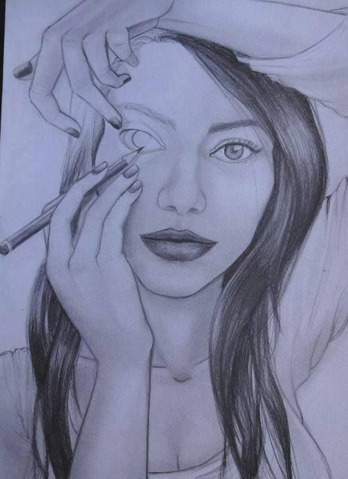 this is a pic that really is awesome they drew it to make it look like she was drawing the pic herself.