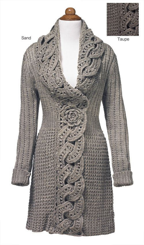 Crochet And Knit Flower Coat. Large Crochet interlinked circles edge the coat. Irish crochet flower under the bodice, with hidden snap.