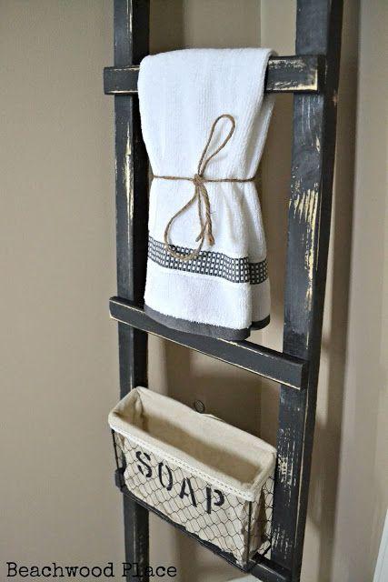 Primitive Bathroom Ladder #primitive #ladder #bathroom #diy #interiordesign