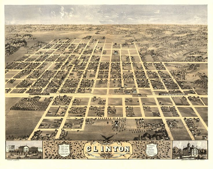 Bird's eye view of the city of Clinton, DeWitt County, Illinois. Drawn by A. Ruger. 1869 Year: 1869 City: Clinton County: DeWitt State: Illinois Country: United States