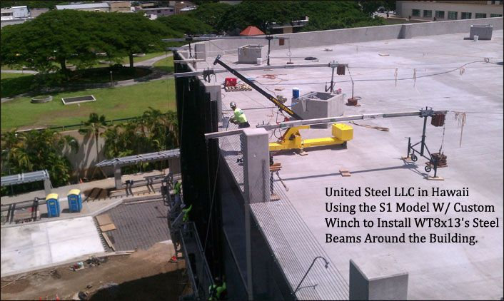 http://www.smartrigcranes.com United Steel, LLC in Hawaii wisely using the S1 model Smart-Rig portable crane for roof top rigging, installing steel beams around the industrial building.