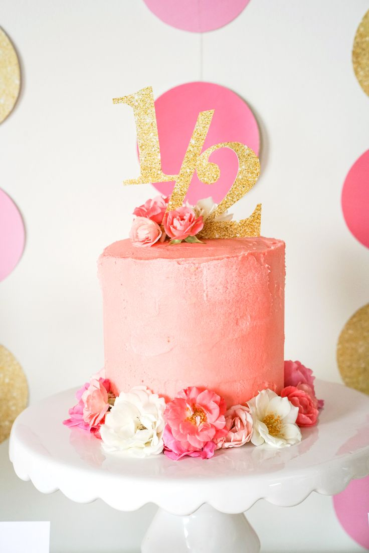 Half Birthday Party Layer Cake in Soft Pink and Fresh flowers with Printable Gold Glitter Topper #HalfBirthdayParty