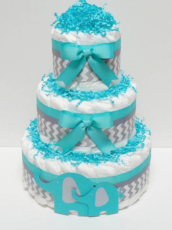 Tiffany Blue Gray Chevron Elephant Diaper by LanasDiaperCakeShop, $45.00
