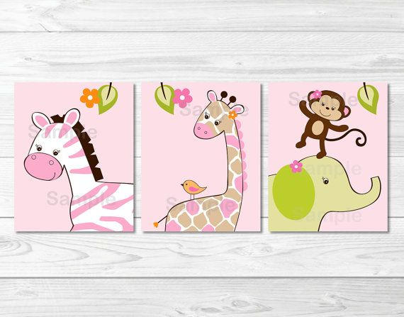 Safari Girl Jungle Animal Nursery Wall Art PRINTABLE Instant Download