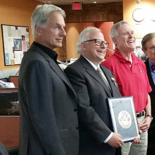 Mark Harmon, Gary Glasburg and  Ray Mabus (real SecNav) at Award presentation.  For Showing The Real Navy On The Show, For Excellence ---- Aug 21st. 2015