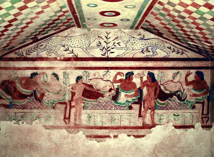 Frescos etruscos de la Tumba de los Leopardos, en la necrópolis de Monterozzi, cerca de Tarquinia. Representa un banquete funerario.