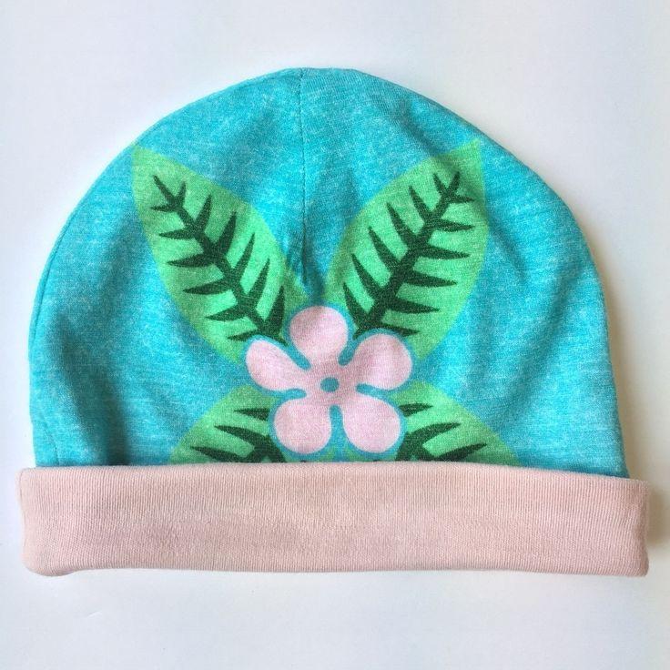 SUMMER SALE | 3-6 months | frangipani | light blue | merino baby beanie