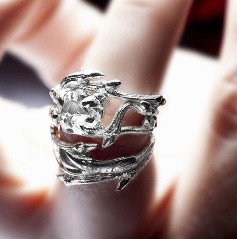 Anillo de diamante de Herkimer élfico: ramas y piedra de cristal natural - anillo de compromiso