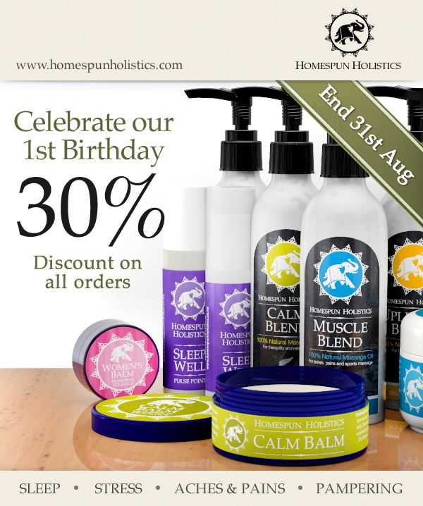 Last few days till the end of August to celebrate our 1st birthday with a 30% discount voucher on all orders of our lovely aromatherapy products at http://homespunholistics.com/products/index.asp?source=pt30