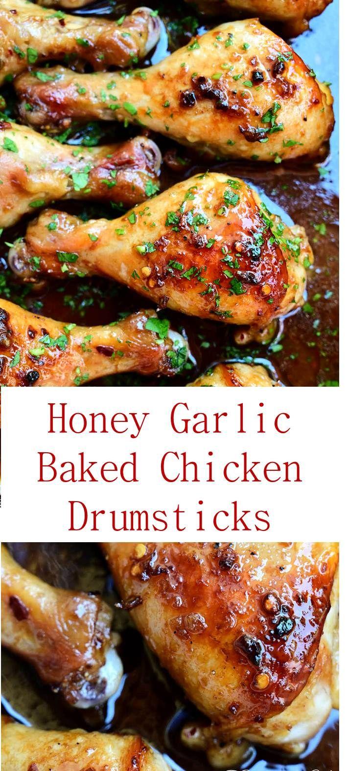 Honey Garlic Baked Chicken Drumsticks Recipe Bakedchicken Bakedchickendrumsticks Chicken Drumstick Recipes Garlic Chicken Recipes Baked Chicken Drumsticks