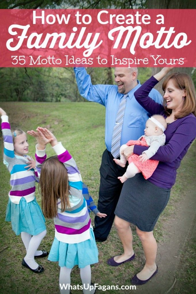 35 Family Motto Ideas from real families!  Create a family motto is one of my goals. They are unifying, empowering, helpful, fun, and unique!