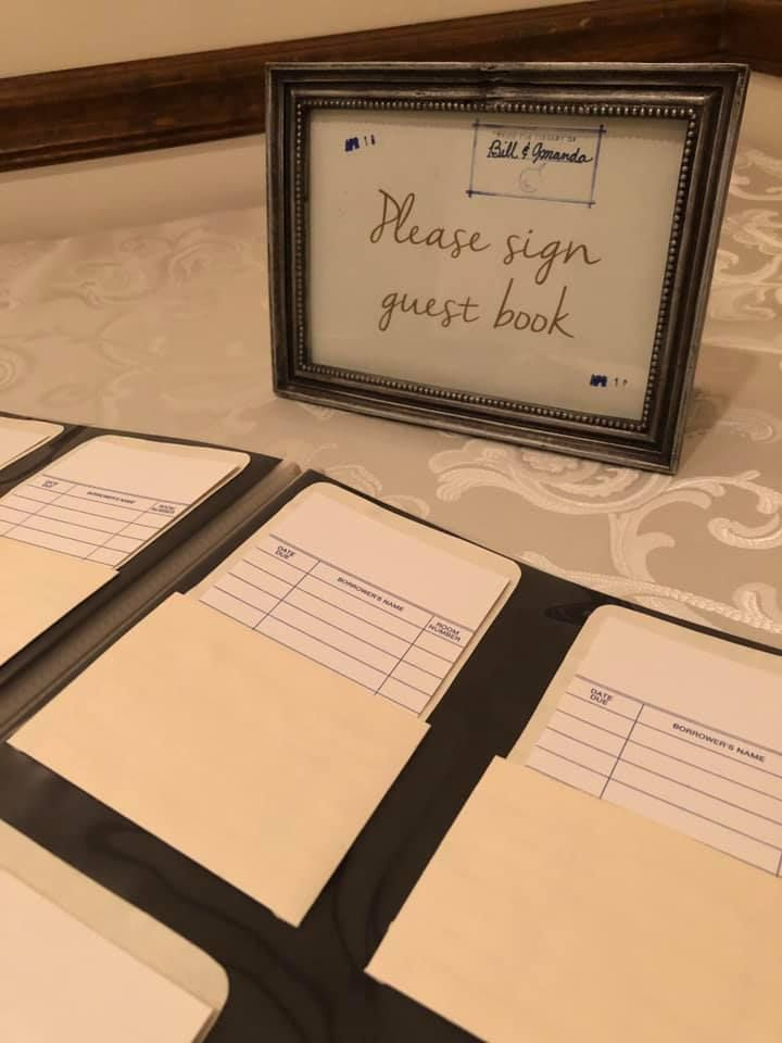 Library Card Guest Book Wedding Venues Historic Wedding Venue Guest Book