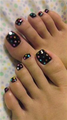 Black Nail Polish w multi colored polkadots