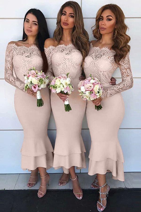 Fabulous Lace & Satin Off-the-shoudler Neckline Hi-lo Mermaid Bridesmaid Dress