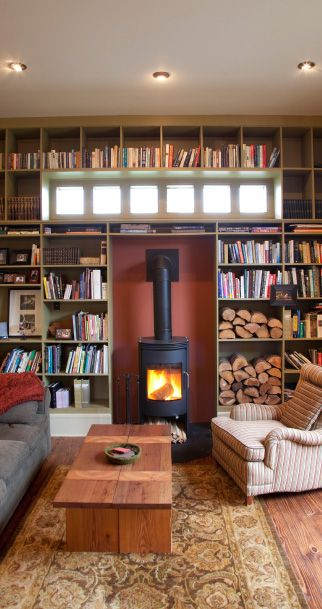 awesome wood burning stove & bookshelves
