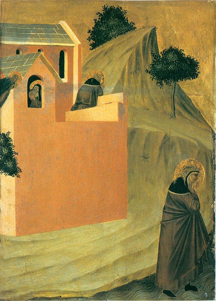 Pietro Lorenzetti (c. 1280 - 1348) Humilitas Leaves the Monastery Gold and tempera on panel, 1316 Galleria degli Uffizi, Florence, Italy