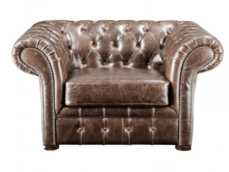Poltrona Chesterfield CLOTAIRE in pelle invecchiata