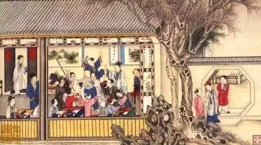 A traditional Chinese family school - an illustration for classic Chinese nov...