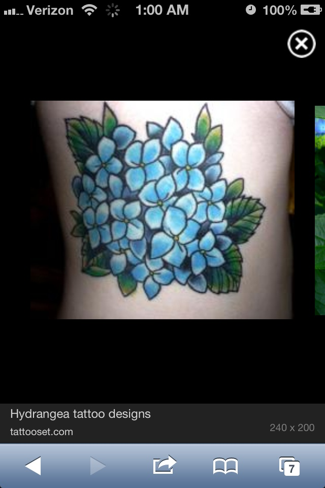 Hydrangea tattoo design. By: tattooset.com