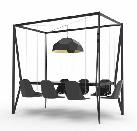 Innovative table with eight hanging chairs designed by Christopher Duffy.        Made out of steel and walnut, Swing Table will add a little extra fun to your dinners and boardroom meetings.        Suspended floating chairs also make vacuuming a breeze.