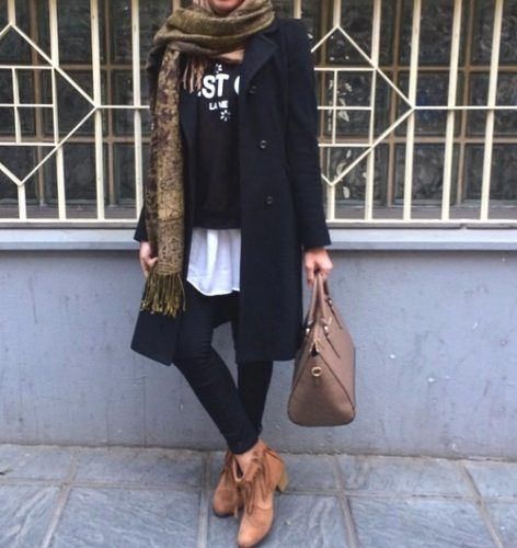 black-trench-jacket-hijab- How to wear trench coat with hijab…