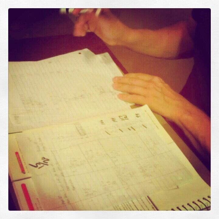 The chores of a 5th grade teacher..paper grading.