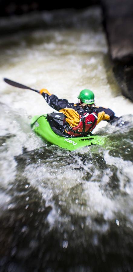 Kavu paddler dropping down a small waterfall just outside Santa Fe, New Mexico