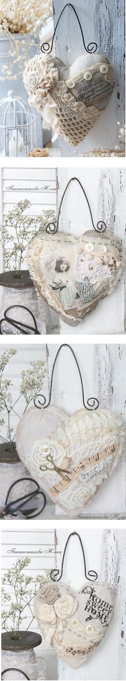Love these ideas for heart pincushions, potpourri sachets or hanging ornaments! :)