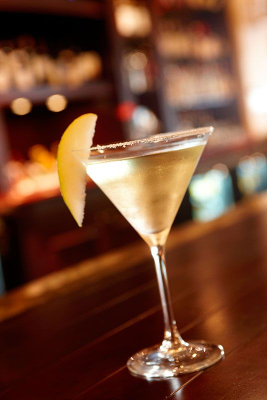 French Pear Martini    1 part St. Germain liqueur  1 part Grey Goose Pear  Topped with Champagne    Combine the St. Germain liqueur and pear vodka in a cocktail shaker with ice. Strain into a chilled martini glass with a sugared rim. Top it off with champagne and garnish with a pear slice.