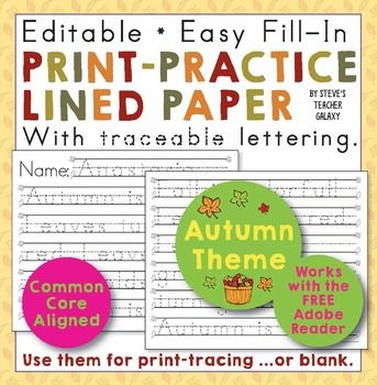 Editable print-practice paper with an autumn theme! There are two ways to use it: 1) You can print out blank ones for some cute, fall-themed writing paper. 2) Or you can enter some traceable, dotted-line text for the little ones to copy. Maybe you have a little fall-themed poem in mind.