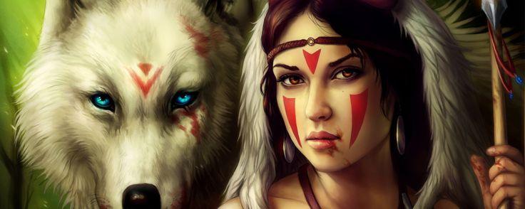2560x1024 Wallpaper girl, spear, warrior, wolf, mononoke