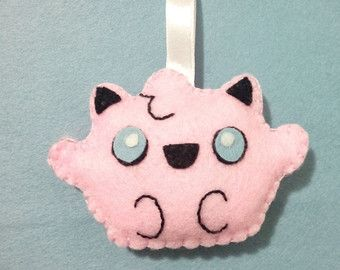 Felt kawaii ornament decoration  plushies Jigglypuff inspired Pokemon backpack bag charm keychain