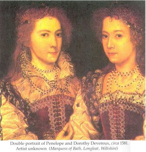 Penelope and Dorothy Devereux, daughters of Lettice Knollys, great granddaughters of Mary Boleyn